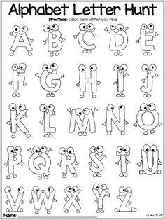 Alphabet Letter Hunt by Oh Miss Jill Calligraphy Letters Alphabet, Doodle Alphabet, Alphabet Drawing, Doodle Art Letters, Hand Lettering Alphabet, Doodle Lettering, Creative Lettering, Graffiti Lettering, Alphabet Crafts