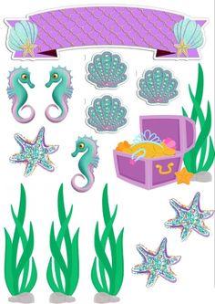 Mermaid Birthday Party Decorations Diy, Mermaid Birthday Cakes, Mermaid Party Favors, Birthday Cake Toppers, Happy Birthday Games, Disney Mickey Ears, Paper Flower Decor, Mermaid Diy, Seashell Crafts