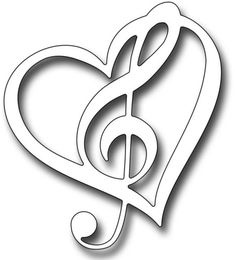 Frantic Stamper Precision Die - Musical Heart-The musical heart die measures x and combines a wispy heart with a treble clef for a unique look. Perfect for romantic and music inspired projects Our Frantic Stamper Precision Dies work in most Music Notes Art, Music Symbols, Frantic Stamper, Embossed Paper, Scroll Saw Patterns, Diy Scrapbook, Paper Cards, String Art, Easy Drawings