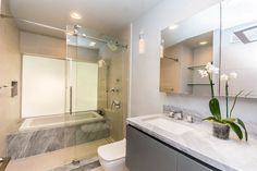 Glass enclosure shower and tub combination, floating vanity