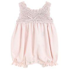 Lili Gaufrette Crochet knit and cotton voile one-piece shorts  - 8501   Melijoe.com Wow!  $94.00!