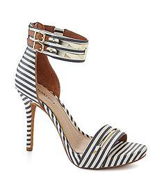 Obviously I need these. #stripes Gianni Bini Lilliana Striped Metal Bit Pumps #Dillards