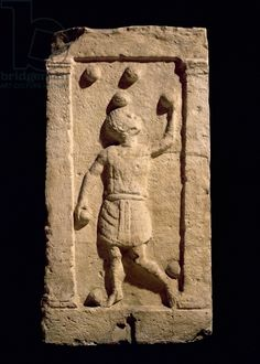 Relief depicting a juggler from the stela of Settimia Spica (stone). Roman, (1st century AD) / Museo della Civilta Romana, Rome, Italy