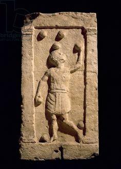 Relief depicting a juggler from the stela of Settimia Spica (stone). Roman, (1st century AD). Museo della Civilta Romana, Rome, Italy