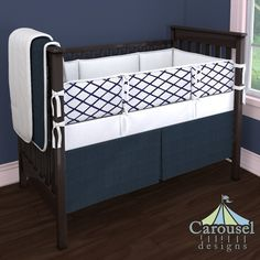 Crib bedding in Solid Navy Minky, White Pimatex, Windsor Navy Trellis. Created using the Nursery Designer® by Carousel Designs where you mix and match from hundreds of fabrics to create your own unique baby bedding. #carouseldesigns