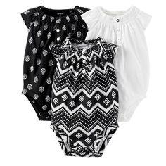 Carter's 3-pk. Tribal & Flower Smock Bodysuits - Baby Girl