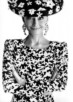 Mrs. Audrey Hepburn photographed by Gilles Bensimon for the French ELLE, in 1988.    -Audrey was wearing creations of Hubert de Givenchy (dress, hat and earrings).