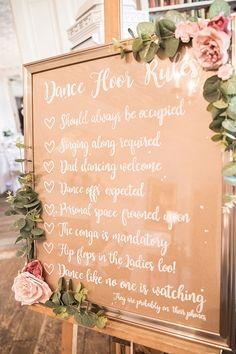 Sign Dance Floor Rules Frame Gold Modern Calligraphy Roses Eucalyptus Easel Classic Romantic Pretty Wedding https://kerryannduffy.com/