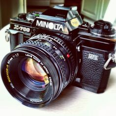 Minolta X700. I got this for my sweet 16. My first film SLR. 25+ years later and I still have it working - I love this camera!
