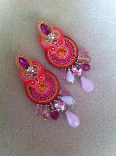 Pink Earrings, Tassel Earrings, Boho Jewelry, Jewelery, Soutache Necklace, Micro Macrame, Shibori, Beaded Embroidery, Brooch