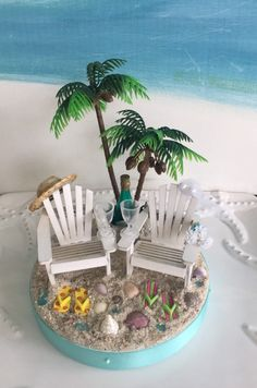 Adirondack Chairs on a Beach Wedding Cake Topper~Palm Tree~Champagne Bottle~Flip Flops~Champagne Glasses~Seashell Cake Topper