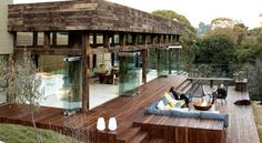 South Africa's Westcliff Pavilion - This steel-framed pavilion structure located on the Westcliff Ridge in Johannesburg, South Africa is 2 bedroom dwelling, nestled away in wooded surroundings. The home is a private, tranquil hiding place in the trees juxtaposed with a feeling of floating above the ridge combined with magnificent views of Johannesburg