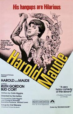 This rare Harold and Maude Film Poster measures 27 x 40 inches. Harold and Maude is a 1971 American black comedy romantic drama film directed by Hal Ashby and released by Paramount Pictures. It incorporates elements of dark humor and existent. Bud Cort, Cyril Cusack, Ruth Gordon, Tom Skerritt, Cat Stevens, Cinema Posters, Art Posters, Original Movie Posters, Funny Comedy