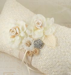 Ring Bearer Pillow in Cream and Champagne with Embroidered Cream Lace, Chiffon Flowers, Jewels and Brooch. $115.00, via Etsy.