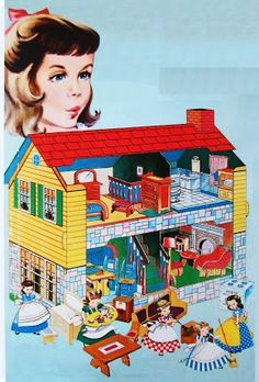 A vintage paper model preserved and shared by Bonnie Jones, originally posted at Picasa Photo Album. Um modelo de papel antigo do. Paper Doll House, Paper Houses, Doll Houses For Sale, Paper Furniture, Images Vintage, Vintage Dollhouse, Up Book, Vintage Paper Dolls, Little Doll