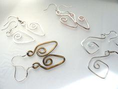 Mini Geometric Earrings Just One Inch w Sterling by fatdogbeads, $10.00