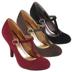 Journee Collection Women's 'Lisa' Sueded T-strap Round Toe Pumps | Overstock.com