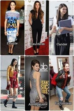 ~Divergent~ ~Insurgent~ ~Allegiant~----Shailene Woodley dressed aa the factions. She is an amazing actress! Divergent Memes, Divergent Hunger Games, Divergent Fandom, Divergent Trilogy, Divergent Insurgent Allegiant, Divergent Dauntless, Insurgent Quotes, Tfios, Divergent Movie Cast