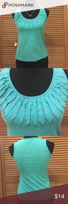 Banana Republic beaded embellished tank top XS In great condition! From banana republic.  Size extra small. Is embellished with beading near the neckline. Color is aqua. The fabric and care tag has been removed. (A) Banana Republic Tops Tank Tops