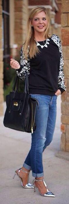 Blue Jeans, Sequins, Silver pumps and gorgeous smile