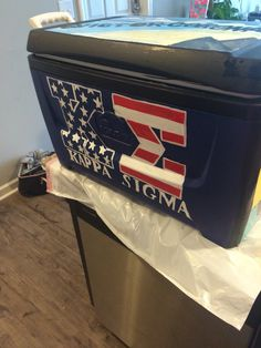 Fraternity cooler Painted Fraternity Coolers, Fraternity Paddles, Sorority Paddles, Frat Coolers, Sorority Crafts, Sorority Life, Sorority Recruitment, Mixer Themes, Sigma Kappa