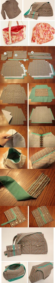 Upcycle blouses and shirts into purses.