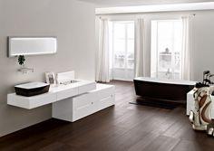 Solid wooden floor in bathroom