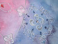 Mandala em aquarela em tons de azul e rosa. Tamanho A3. Moldura branca padrão. *Pode haver divergência na tonalidade.