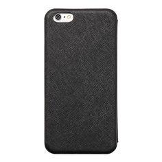 【【iPhone6 Plus ケース】手帳型クラムシェルケース Zara Black】● 手になじむラウンドフォルム ● 端末本体を粘着シートで貼り…