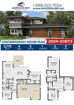 Designed with amazing interior amenities, Plan 2559-00873 delivers a Contemporary home design with 2,775 square feet, 4 bedrooms, 3.5 bathrooms, a guest room, a kitchen island, an open floor plan, and a home office. #contemporaryhome #architecture #houseplans #housedesign #homedesign #homedesigns #architecturalplans #newconstruction #floorplans #dreamhome #dreamhouseplans #abhouseplans #besthouseplans #newhome #newhouse #homesweethome #buildingahome #buildahome #residentialplans… Best House Plans, Dream House Plans, Modern House Plans, Contemporary Home Plans, Bungalow Floor Plans, House Blueprints, Flat Roof, Open Floor, Innovation Design