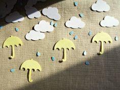 Rainy Day Confetti - Cloud, Raindrop, Umbrella Shower Party Decorations, 200 Pieces. $5.50, via Etsy.