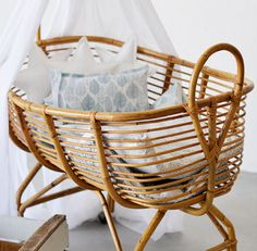 """A bassinet, bassinette, or cradle is a bed specifically for babies from birth to about four months, and small enough to provide a """"cocoon"""" that small babies find comforting. Girl Room, Baby Room, Cool Baby Gadgets, Baby Bassinet, Baby Furniture, Rattan Furniture, Baby Time, Bed Styling, Boho Baby"""