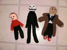 Toy Dolls Jack, the Doctor and Red - Modified the basic doll pattern (http://www.canadianliving.com/crafts/knitting/hello_dollies.php) to make Jack Skellington, Doctor Who (used Foxy for hair - knitted a toupee :)) and a red shirt from Star trek