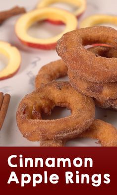 Cinnamon Apple Rings Recipe | Here's a sweet and crispy treat for any season! With only five minutes of prep time and 15-20 minutes of cook time, you'll be enjoying a hot tasty doughnut in no time! Click for the video and recipe. #desserts #sweettreats #easyrecipes