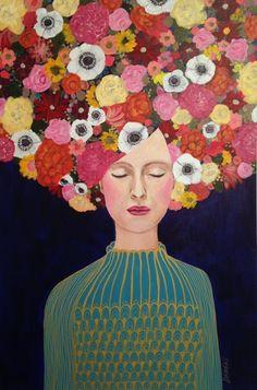 """céleste"", original acrylic, Sylvie Demers at saatchiart.com"