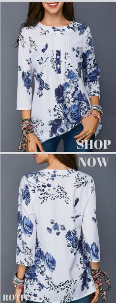 Button Detail Three Quarter Sleeve Flower Print Blouse On Sale At Modlily! Look Fashion, Fashion Outfits, Womens Fashion, Pretty Outfits, Cool Outfits, Floral Embroidery Dress, Trendy Tops For Women, Blouse Styles, Quarter Sleeve