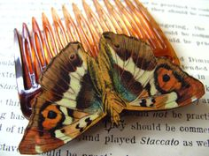 Bohemian Lady of the Night Wooden MOTH Hair comb by NewellsJewels, £7.00