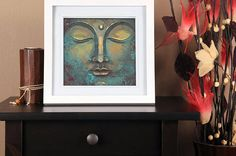 Visit my Shop to use this coupon code for 20% off: XMAS16 --- Until 7th December 2016. --- LARGE Wall ART Rustic Buddha Art Print Green Yellow Wall Art Decor Square Copper Buddha Printed Art Harmonic Energy Meditation by DrawingIllustration