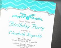 Teal Zigzag Birthday Party Invitation