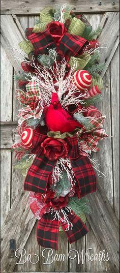 Cardinal Wreath Cardinal Decor Christmas Wreath By Ba Bam Wreaths Christmas Mesh Wreaths, Christmas Swags, Christmas Door Decorations, Christmas Centerpieces, Christmas Diy, Cardinal Christmas Decor, Door Wreaths, Merry Christmas, Primitive Christmas