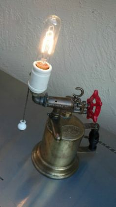 vintage industrial machine age steampunk blow torch light lamp awesome lighting