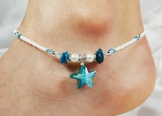 Anklet Ankle Bracelet, Turquoise Blue Glass Starfish, White Freshwater Pearls, Mother of Pearl, Swarovski Crystals, Sea Ocean Beach Sand
