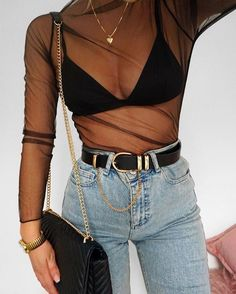 how to style mesh | see through shirt | how to style high waisted jeans