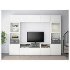 BESTÅ TV storage combination/glass doors - white stained oak effect/Selsviken high-gloss/white frosted glass, drawer runner, soft-closing - IKEA Furniture, Home, Glass Door, Ikea Living Room, Ikea, High Gloss White, Tv Storage, Ikea Tv, Space Saving