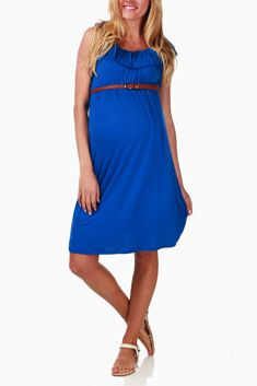 Royal Blue Belted Maternity Dress