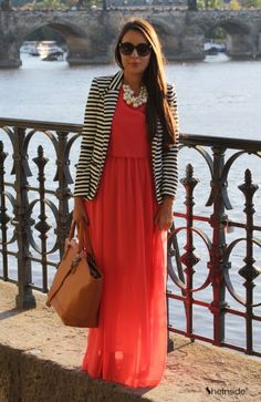 Blazer and pearls dress up this maxi dress for work