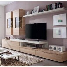 Contemporary wall storage system with tv shelf, display cabinets and low cabinet home ideas Tv Stand With Storage, Tv Storage, Tv Units With Storage, Storage Ideas, Living Room Wall Units, Small Living Rooms, Muebles Rack Tv, Ikea Storage Cabinets, Display Cabinets