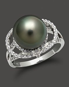 TRUNK SHOW: Tahitian Pearl And Diamond Ring Set In 14K White Gold | Bloomingdale's