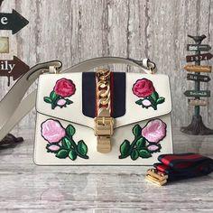 Gucci Sylvie Shoulder Bag Authentic Off Gucci Sylvie Bag, Gucci Bags Outlet, Designer Bags For Less, Gucci Handbags, Embroidered Flowers, Bag Sale, Mini Bag, Leather Shoulder Bag, Purses And Bags