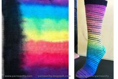 I've finished my second pair of socks from a hand-dyed sock blank. I'm really loving the way I can make stripes magically appear without ha. Diy Knitting Socks, Knitting Yarn, Knit Socks, Knitting Patterns, Stitch Witchery, Yarn Inspiration, Fibres, Sock Yarn, How To Dye Fabric